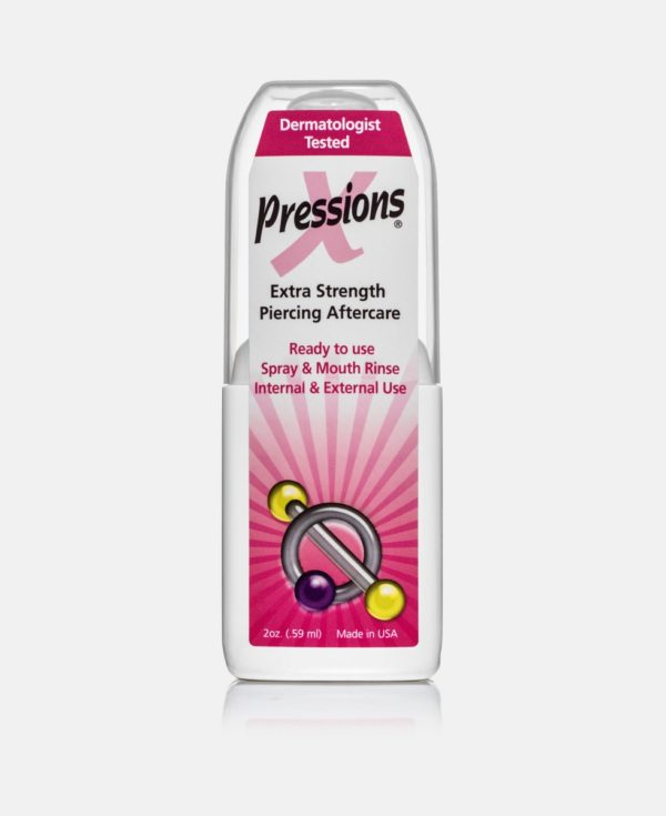 "A bottle of piercings antiseptic spray called Xpressions, with the words, ""extra strength piercing aftercare"" on it."